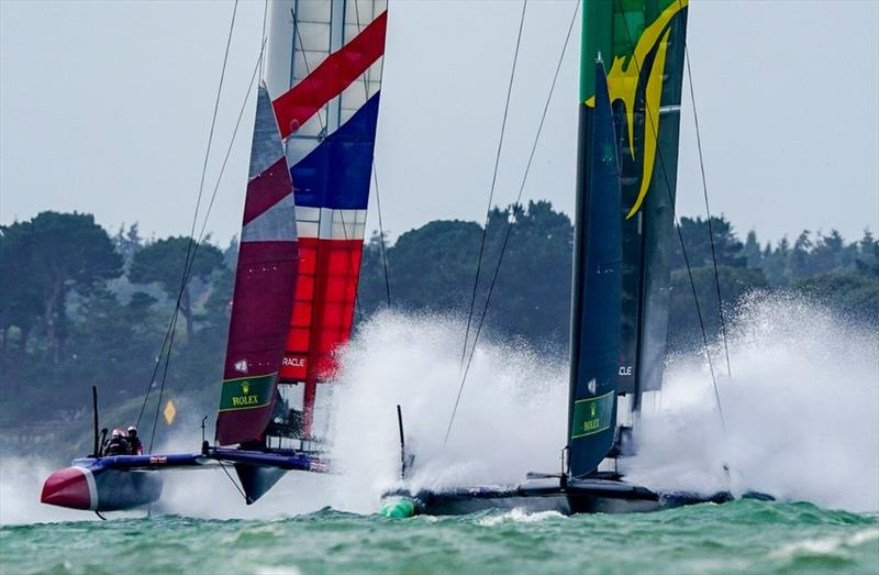 Exciting sailing conditions for SailGP Cowes as the Australian SailGP team broke the 50kt barrier - photo © Bob Martin for SailGP