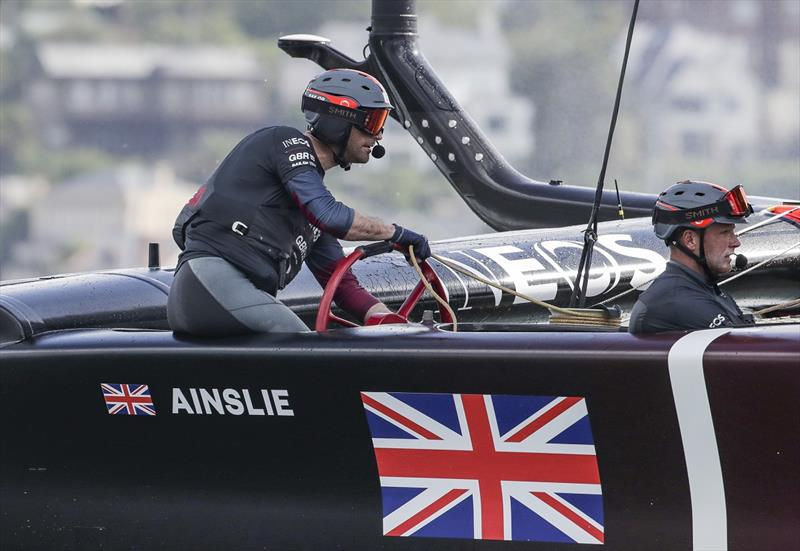 Ben Ainslie, helmsman of Great Britain SailGP Team, pilots the Great Britain SailGP Team presented by INEOS F50 catamaran to victory in the first race on Race Day 1 -  Sydney SailGP - photo © Eloi Stichelbaut for SailGP