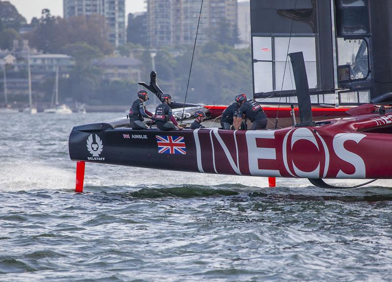 Hard at work on the way to just one of their five race wins during Round One of the 2020 SailGP season. - photo © John Curnow