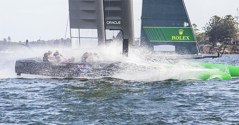 Team AUS coming back down after the finish of the SailGP final, Round One 2020, Sydney Harbour. - photo © John Curnow