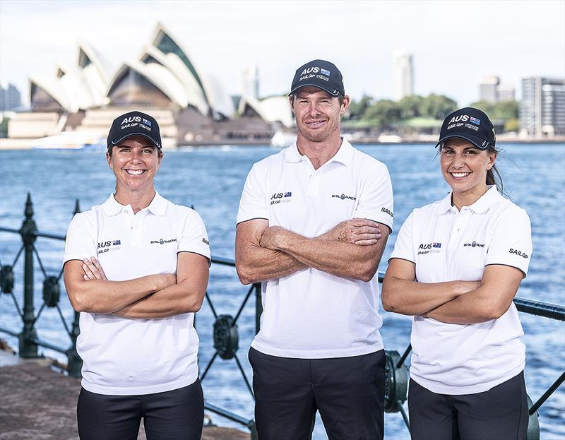 L-R) Nina Curtis, Tom Slingsby and Lisa Darmanin at Sydney Harbour - photo © Australia SailGP Team
