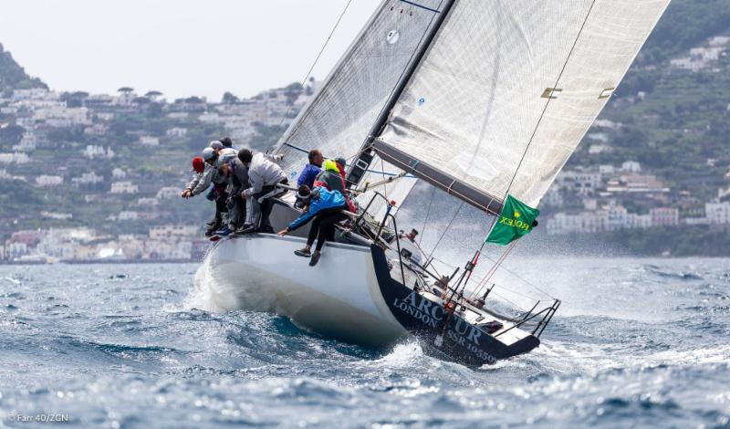 Arctur, helmed by Vasyl Gureyev charges upwind on a windy day two of the Rolex Capri Sailing Week - photo © Farr 40 / ZGN