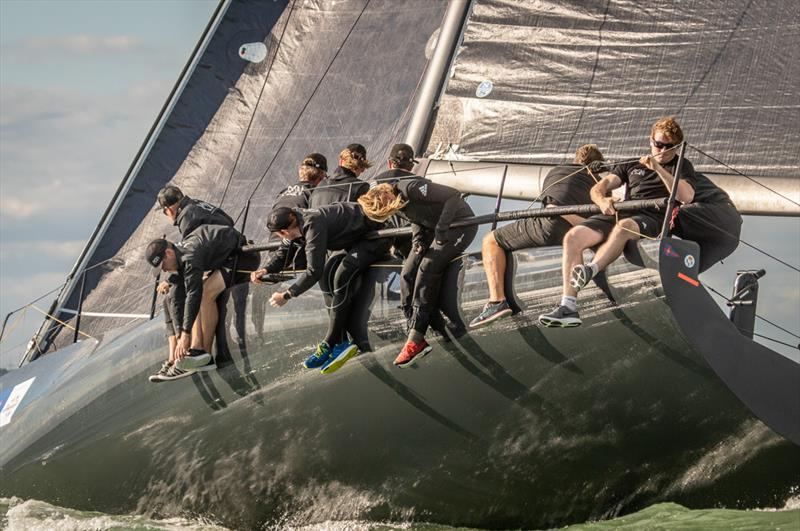 Niklas Zennstrom's Rán opened their challenge for the One Ton Cup with two bullets. photo copyright VR Sport Media taken at Royal Ocean Racing Club and featuring the Fast 40 class