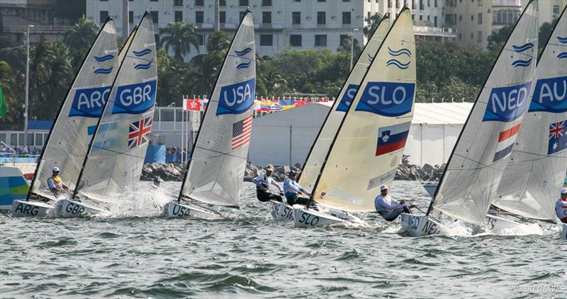 Medal Race start in the Finn class at the Rio 2016 Olympic Sailing Competition - photo © Robert Deaves