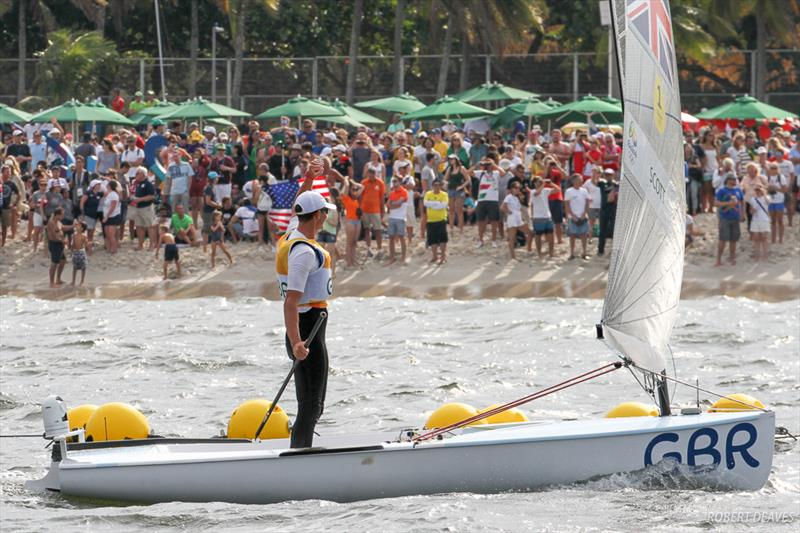 Scott acknowledges the crowd at the Rio 2016 Olympic Sailing Competition - photo © Robert Deaves