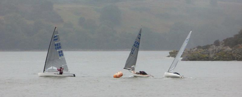 Finn Open, gybe mark in the gloom during Solway YC Kippford Week - photo © Becky Davison