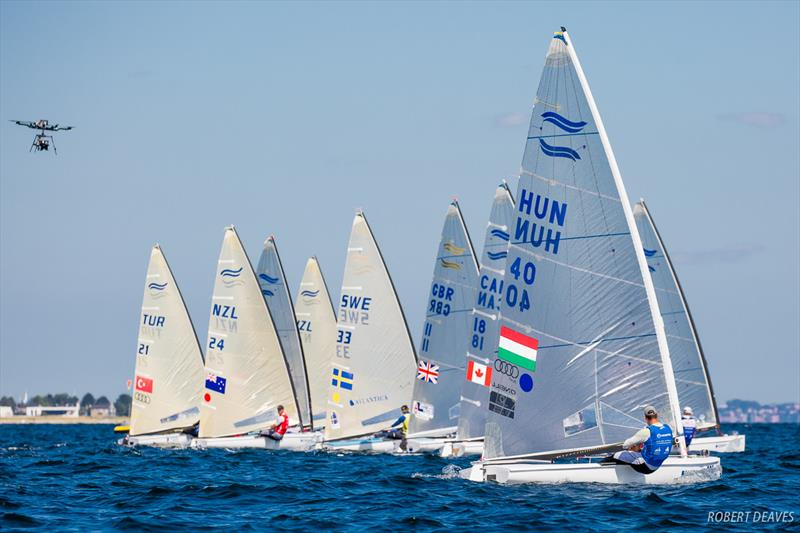 Out of the start of the Finn class Medal Race at the 2018 Hempel Sailing World Championships Aarhus - photo © Robert Deaves