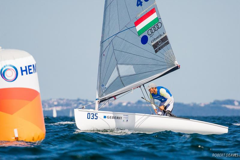 Berecz leads through the gate during the Finn class Medal Race at the 2018 Hempel Sailing World Championships Aarhus - photo © Robert Deaves