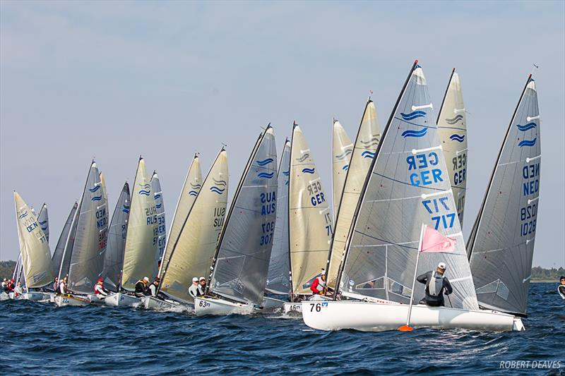 Race 2 start on day 1 of the Finn European Masters in Schwerin photo copyright Robert Deaves taken at  and featuring the Finn class