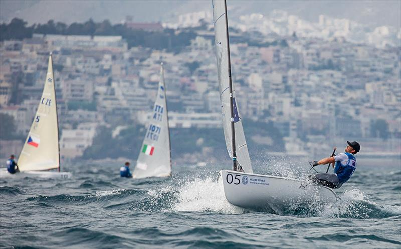 Andy Maloney leads Race 2 - 2019 Finn Open European Championship - photo © Robert Deaves