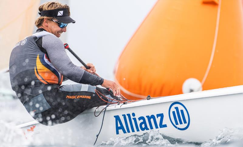 Nicholas Heiner, NED on day 3 of the 2021 Open and U23 Finn European Championship photo copyright Joao Costa Ferreira taken at  and featuring the Finn class