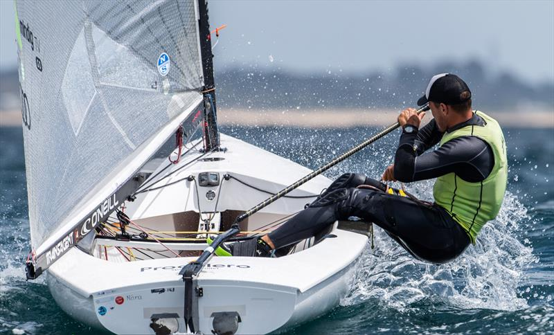 Zsombor Berecz, HUN on day 4 of the 2021 Open and U23 Finn European Championship photo copyright Joao Costa Ferreira taken at  and featuring the Finn class