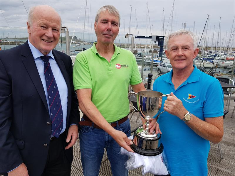 Runners-up – Neil Cramer and Niall McGrotty (IRL14938, Skerries Sailing Club) with Howth's Vice Commodore, Paddy Judge during the Irish Fireball Nationals at Howth photo copyright Frank Miller taken at Howth Yacht Club and featuring the Fireball class