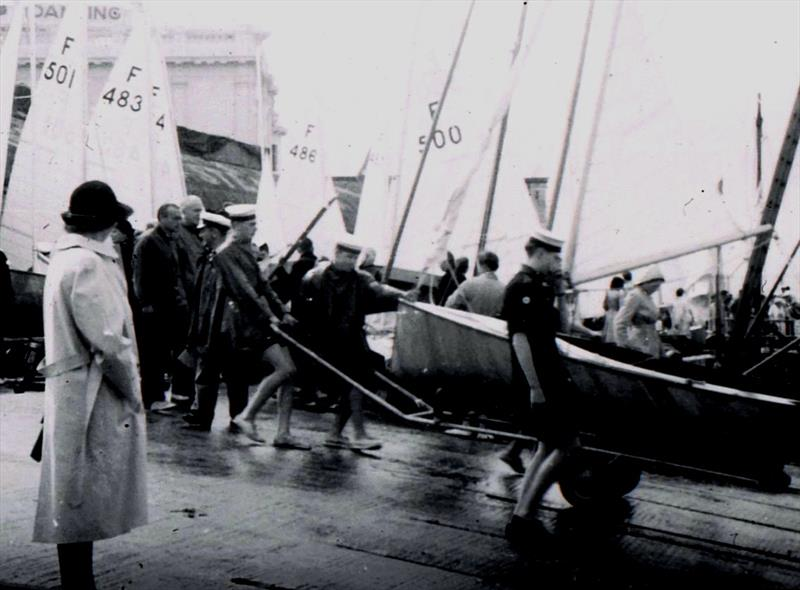 A wet day as racing got underway, with the local Sea Scouts helping to launch the boats. The public were given full access to the area, with no checks as to who was there spectating! - photo © Torquay Library / Henshall
