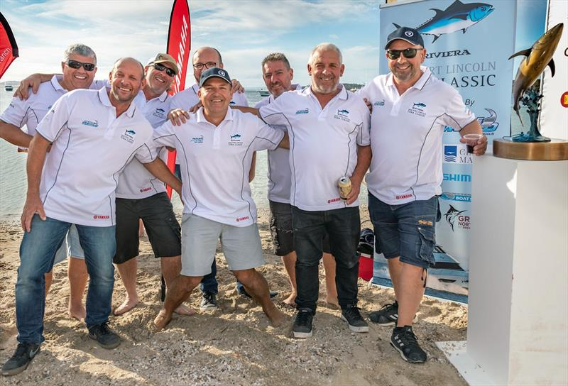 There's no shortage of camaraderie after competition as event organiser Russel Bianco (centre) gets together with the crews from OSeaD and Popeye who participated in the Riviera Port Lincoln Tuna Classic photo copyright Riviera Studio taken at  and featuring the Fishing boat class
