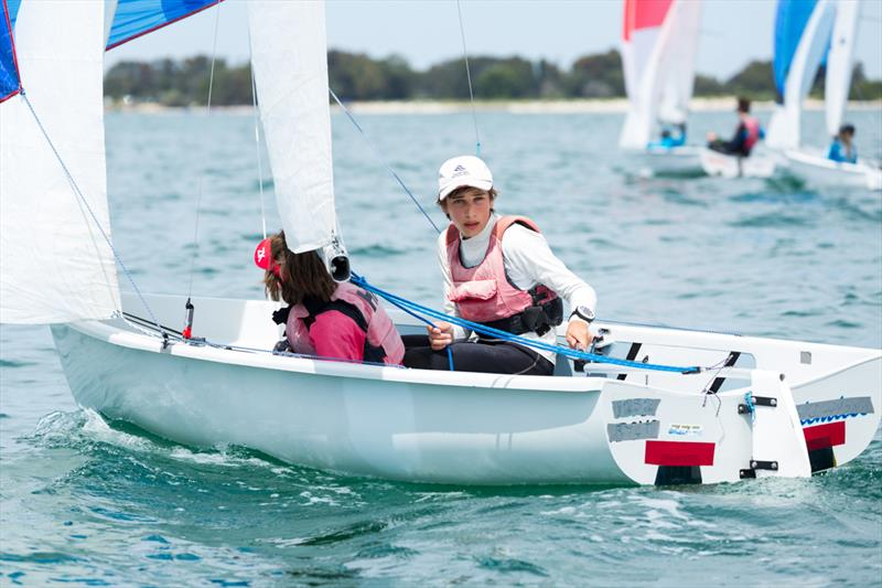 Wallis and Racape win the Flying 11 class at the Yachting NSW Youth Championships - photo © Robin Evans