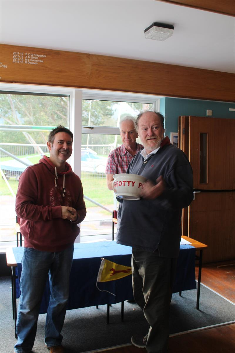 The Grotty Potty is awarded to Athol King in the Flying Fifteen Team Racing at Bassenthwaite photo copyright William Carruthers taken at Bassenthwaite Sailing Club and featuring the Flying Fifteen class