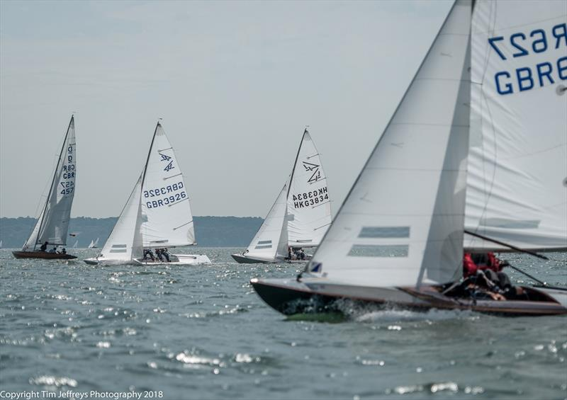 Perfect conditions for the Flying Fifteens on day 4 of Cowes Classics Week photo copyright Tim Jeffreys Photography taken at Royal London Yacht Club and featuring the Flying Fifteen class