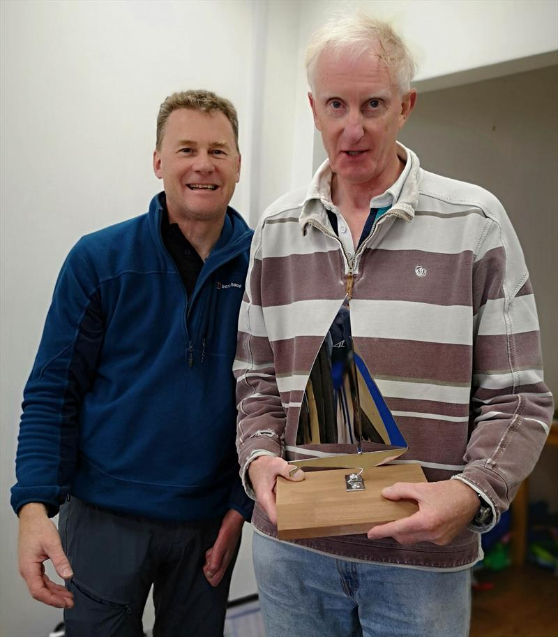 Keith Jamieson (left) presents the Flying Fifteen Lakeland Grand Prix Trophy to Neil Currie photo copyright Sue Giles taken at Ullswater Yacht Club and featuring the Flying Fifteen class