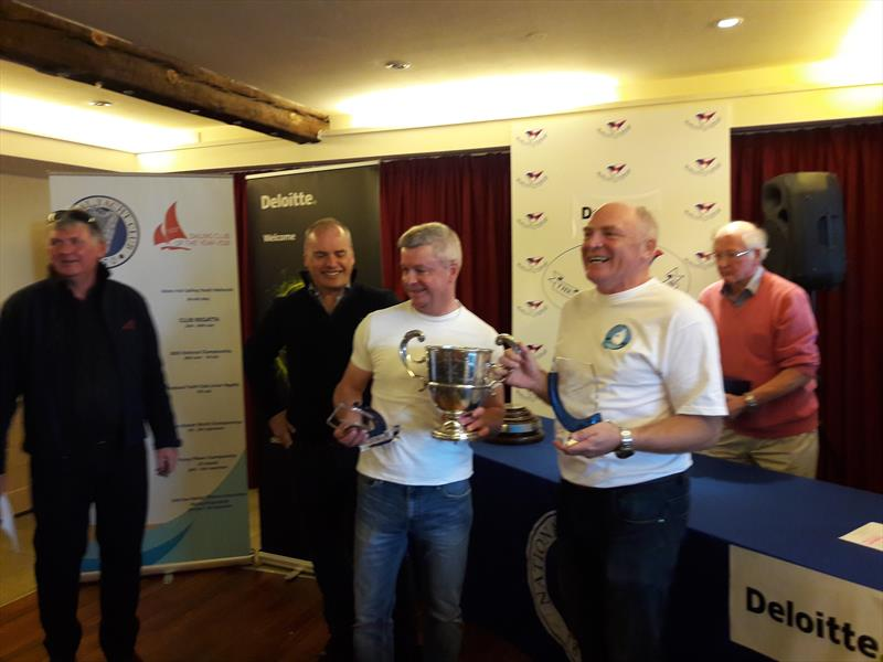Irish Flying Fifteen Nationals (l-r) Mick Quinn, DL Flying Fifteen Class Captain,  Dave Dalton, Deloitte, Dave Gorman, winning helm & Chris Doorly, winning crew photo copyright Cormac Bradley taken at National Yacht Club and featuring the Flying Fifteen class