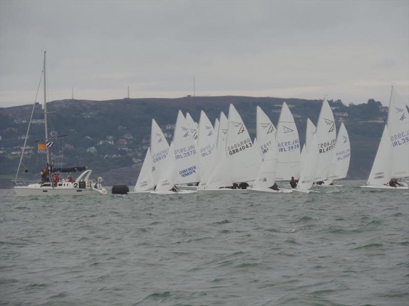 Start line action on Sunday morning during the Flying Fifteen Irish South Coast Championship at Dun Laoghaire photo copyright Ralf Högger taken at Royal St George Yacht Club and featuring the Flying Fifteen class