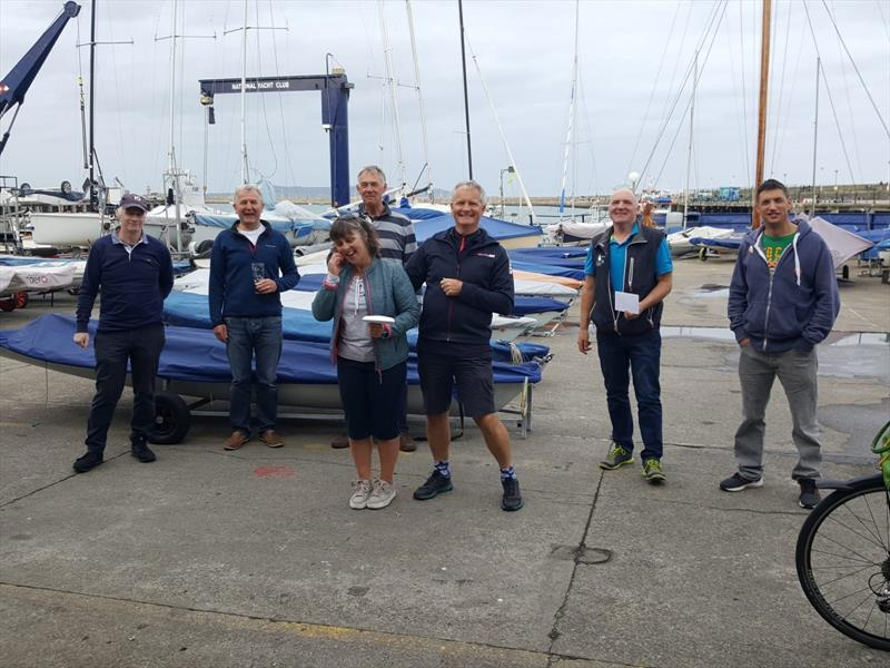 Dun Laoghaire Captain's Prize (l-r) John Lavery (4083) 2nd Prize; Neil Colin, Dun Laoghaire Flying Fifteen Class Captain; Alan Green (4083), Nicki Mathews & Niall Meagher (3938) 3rd Prize, Chris Doorly & Shane (3970) 1st Prize photo copyright Chris Doorly taken at Dun Laoghaire Motor Yacht Club and featuring the Flying Fifteen class