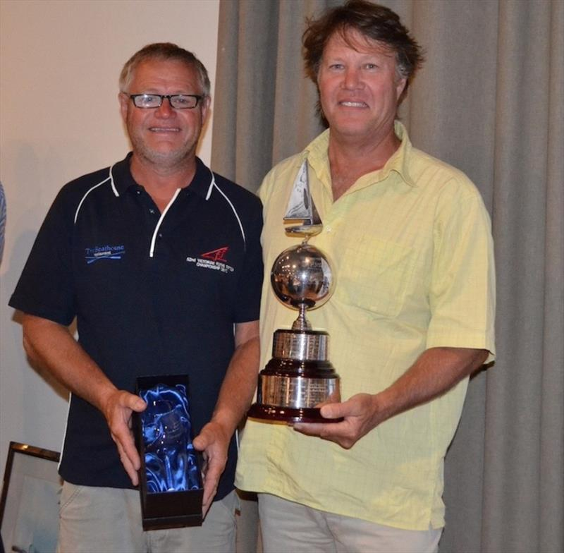 Craig and Ian Rainey receiving the Tempest trophy - 3rd overall – Flying Fifteen Australian Championships photo copyright Sonja Dowdle taken at Mornington Yacht Club and featuring the Flying Fifteen class