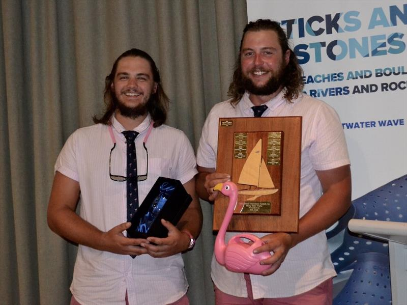 Lewis Davies and John Radnell receiving the Rising Stars Trophy – Flying Fifteen Australian Championships photo copyright Sonja Dowdle taken at Mornington Yacht Club and featuring the Flying Fifteen class