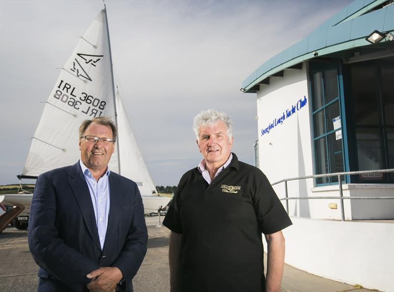 Roger Chamberlain is pictured with Willowbrook Foods Managing Director, John McCann MBE at Strangford Lough Yacht Club at Whiterock, ahead of the Willowbrook Foods Flying Fifteen Championships of the British Isles beginning on the 27th June 2018 - photo © Fiona Anderson