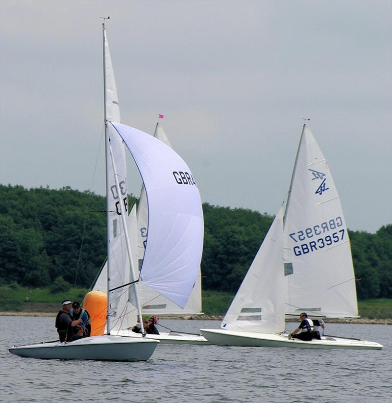 Greg Wells & Andrew Jameson round the windward mark in the lead (race 1 of the Flying Fifteen Inland Championships) photo copyright GWSC taken at Grafham Water Sailing Club and featuring the Flying Fifteen class
