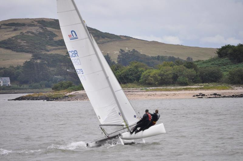 Father and daughter, Scott and Nicola McColm flying a hull in their F18 cat during Solway YC Kippford Week - photo © Jane Gascoigne