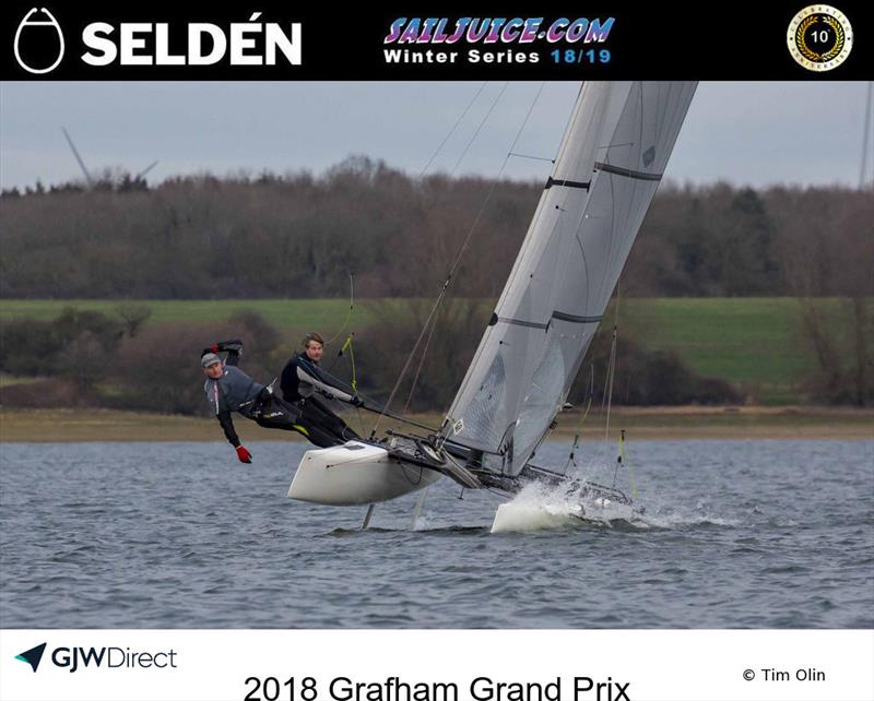 Dave White's F18 during the 2018 Grafham Grand Prix photo copyright Tim Olin / www.olinphoto.co.uk taken at Grafham Water Sailing Club and featuring the Formula 18 class