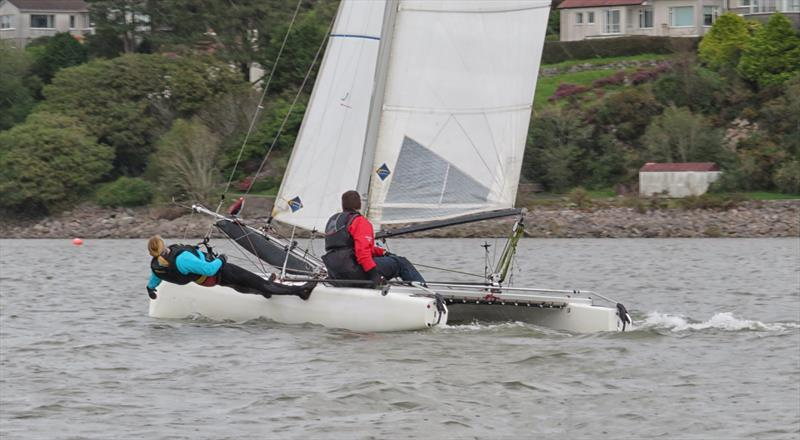 Nicola McColm, butler of the Solway YC virtual stand, at full stretch on Dad Scott's Formula 18 catamaran - photo © John Sproat