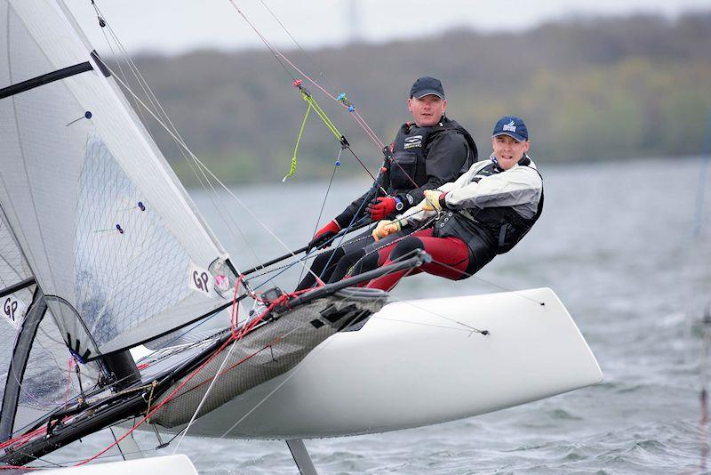 Jon Sweet and Ed Connellan won the Fast Cat fleet overall in the Restart Series in their Formula 18 photo copyright Paul Sanwell / OPP taken at Grafham Water Sailing Club and featuring the Formula 18 class