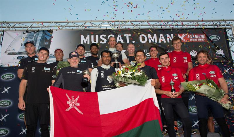 The podium at Extreme Sailing Series™ Act 1, Muscat - photo © Lloyd Images