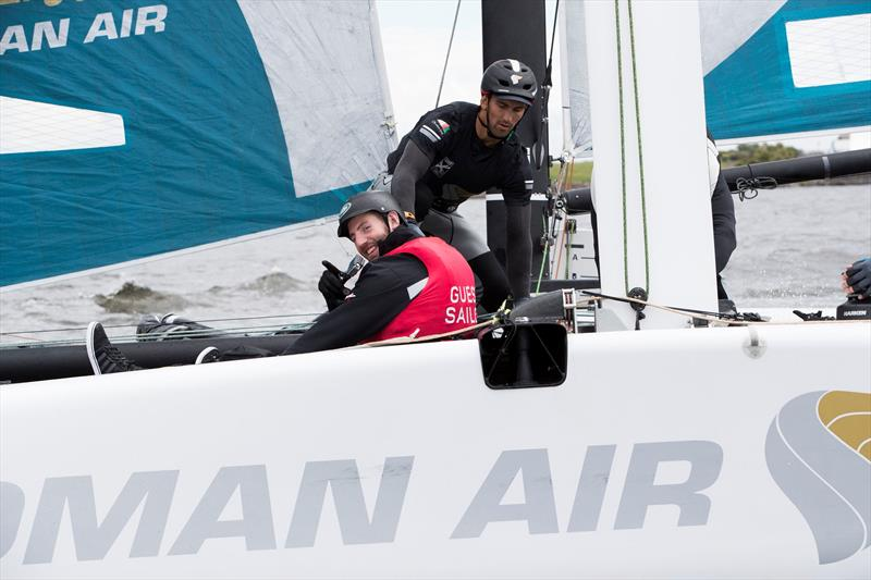 Cardiff Blues rugby star Alex Cuthbert joins Oman Air for a ride on day 3 of Extreme Sailing Series™ Act 3 in Cardiff Bay - photo © Lloyd Images