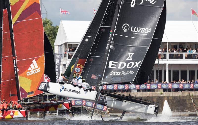 Sail Portugal and CHINA One charge across the finish line on day 3 of Extreme Sailing Series™ Act 3 in Cardiff Bay - photo © Lloyd Images