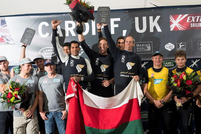Oman Air, Red Bull Sailing Team and SAP Extreme Sailing Team took first, second and third place respectively at Extreme Sailing Series™ Act 3 in Cardiff Bay - photo © Lloyd Images