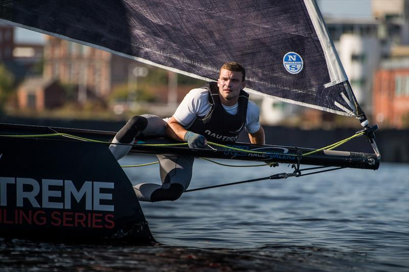 Light winds on Extreme Sailing Series™ Act 6, Cardiff day 3 - photo © Vincent Curutchet