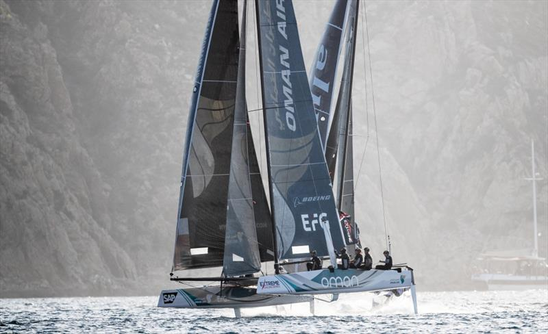 The Extreme Sailing Series 2017. Act 8. 30th November- 3rd December 2017. Los Cabos Mexico, Cabo San Lucas Resort. The 'Oman Air' race team shown in action close to the shore, skippered by Phill Robertson (NZL) with team mates Pete Greenhalgh (GBR) - photo © Lloyd Images