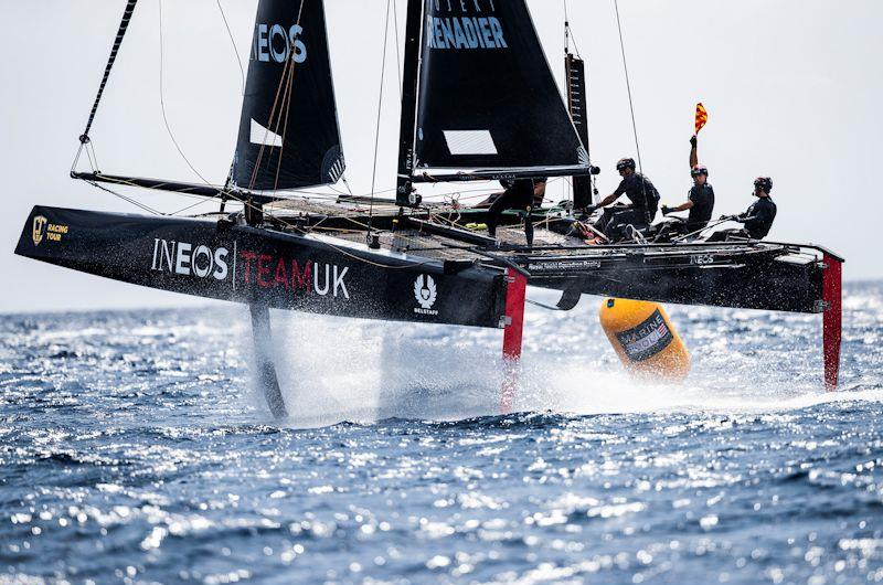 The Ben Ainslie-skippered INEOS Team UK led for most of race one on day 1 of the GC32 Villasimius Cup - photo © Sailing Energy / GC32 Racing Tour