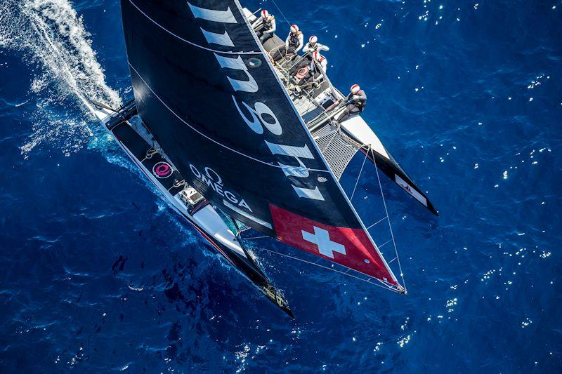 Alinghi was leading the second race on day 1 of the GC32 Villasimius Cup until a massive wind shift caused it to be abandoned - photo © Sailing Energy / GC32 Racing Tour
