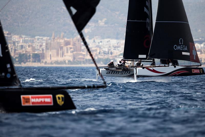 Alinghi claimed today's penultimate race but trails Oman Air by four points at the end of day two. - 38 Copa del Rey MAPFRE - photo © Sailing Energy / GC32 Racing Tour