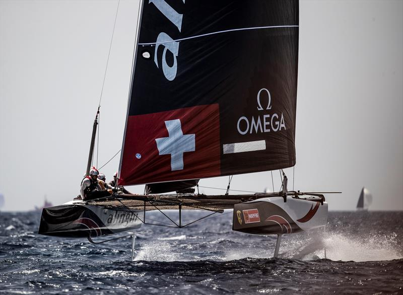The World Champions, Alinghi, hope to have a better day tomorrow at Copa del Rey MAPFRE. - photo © Sailing Energy / GC32 Racing Tour