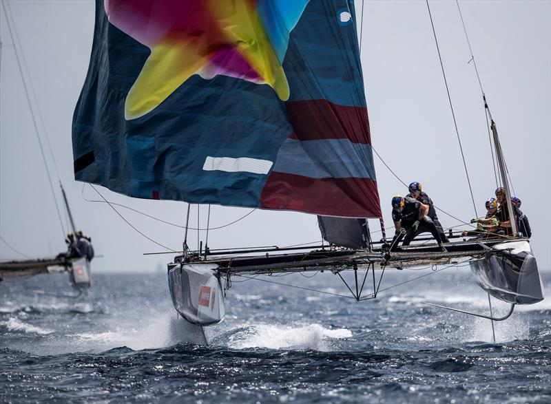 High pressure furling on board Red Bull Sailing Team. - 38 Copa del Rey MAPFRE - photo © Sailing Energy / GC32 Racing Tour