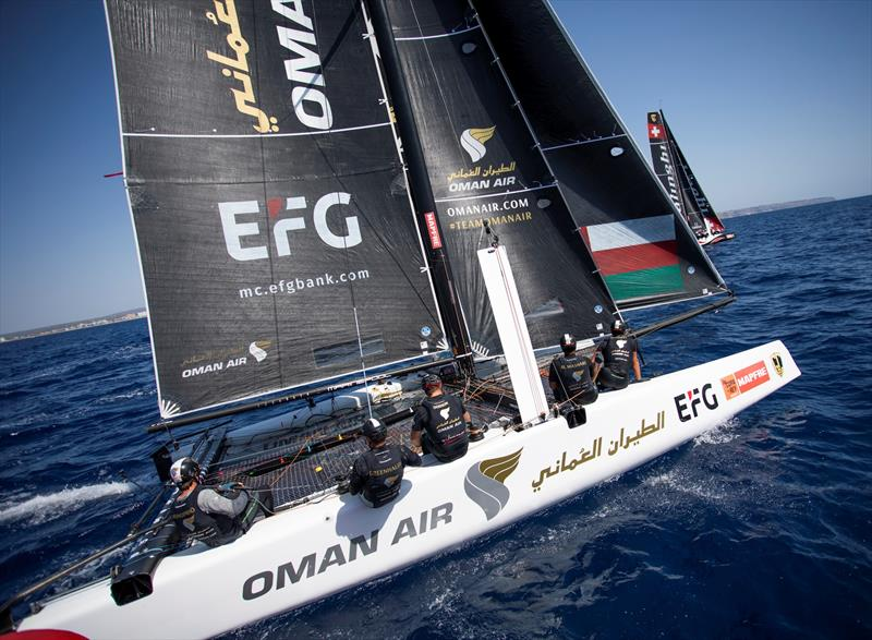 Oman Air leads into the final day of GC32 racing at Copa del Rey MAPFRE.  - photo © Tomas Moya / Sailing Energy / GC32 Racing Tour