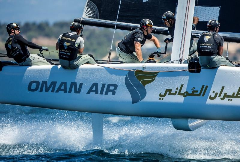 Match Racing World Champion turned America's Cup and Volvo Ocean Race sailor Adam Minoprio is helming Oman Air this season. - photo © Jesus Renedo / Sailing Energy / GC32 Racing Tour