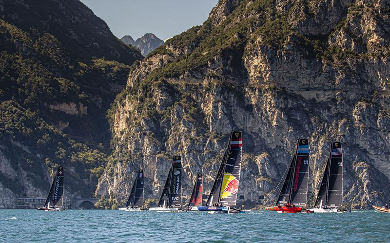The magnificent cliffs south of Riva del Garda - photo © Jesus Renedo / Sailing Energy / GC32 Racing Tour
