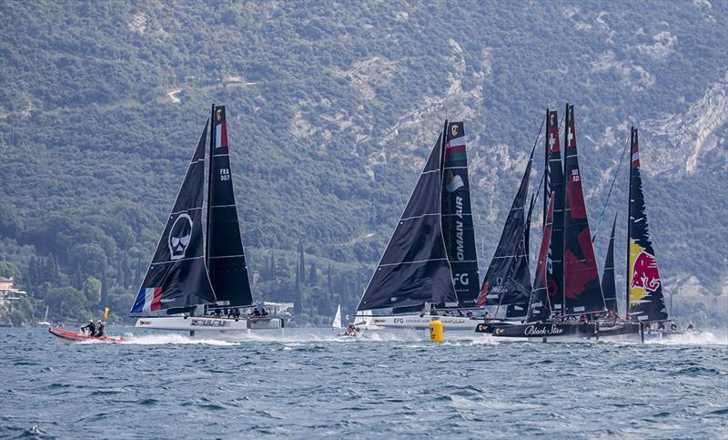 Erik Maris' Zoulou leads round the reaching mark - 2019 GC32 Riva Cup - photo © Sailing Energy / GC32 Racing Tour