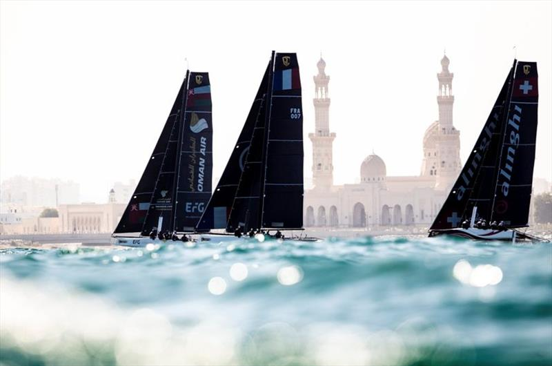 Fleet lines up off the Jamea Sayyida Fatima bint Ali mosque. - 2019 GC32 Oman Cup day 2 photo copyright Sailing Energy / GC32 Racing Tour taken at  and featuring the GC32 class